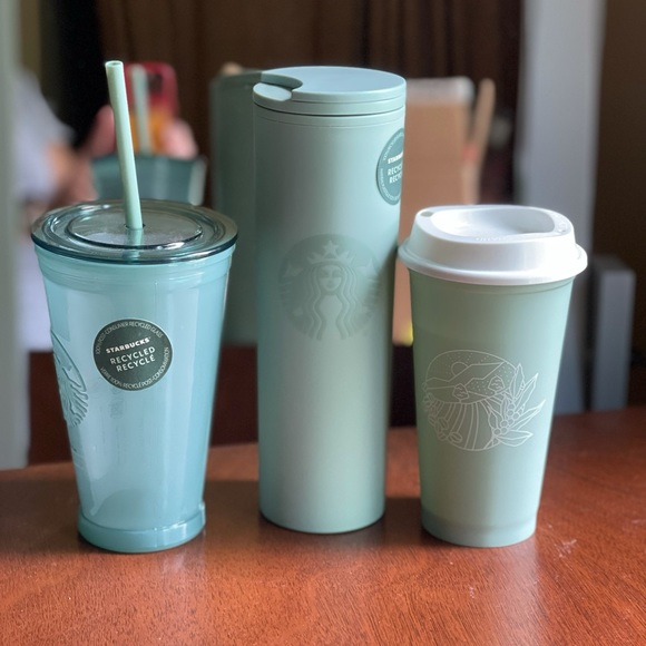 NEW Starbucks Recycled Glass & Acrylic Tumbler Set